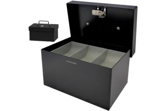 158mm Portable Sturdy Metal Cash/Money Box No.6 Organiser/Coins tray/key lock