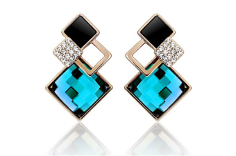 Palazzo Earrings w/Swarovski Crystals-Gold/Teal