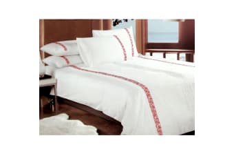 350TC Haze Red Cotton Embroidered Quilt Cover Set by Metropolitan