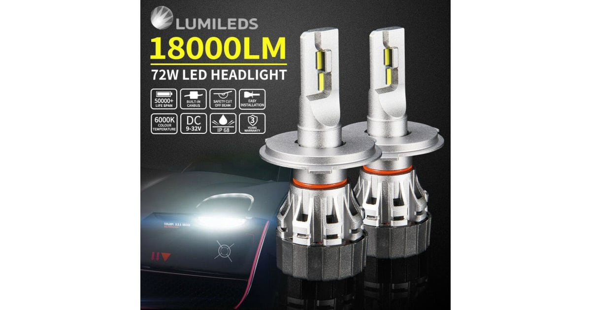 LIGHTFOX 2x H7 LED Headlight Kit Light Bulbs Lamp 18000LM 72W White Beam  6000K Upgrade | Automotive Accessories |