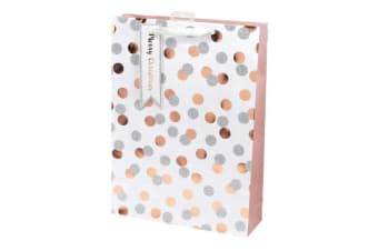 I G Design Metallic Spots Christmas Bag (White/Gold/Silver) (L)