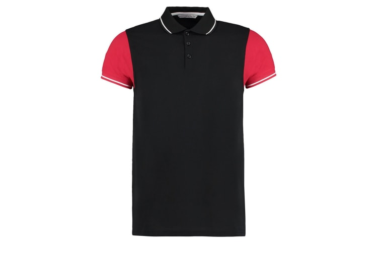 Kustom Kit Mens Two Tone Contrast Tipped Polo Shirt (Black/Red/White) (S)