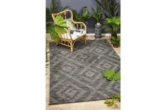 Wyatt Black & Natural Geometric Coastal Rug 330x240cm