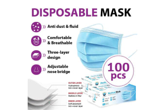 100Pcs Disposable Face Mask Protective Masks 3 layer Meltblown Filter for General Purpose