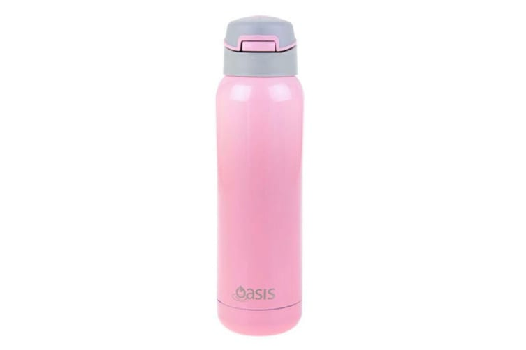 2x Oasis 500ml Stainless Steel Insulated Sports Drink Water Bottle w  Straw Pink