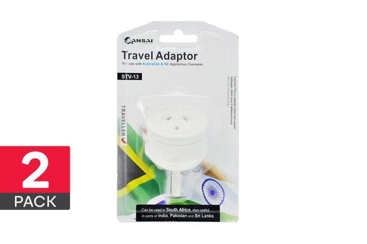 2-Pack Sansai Travel Adapter - South Africa, India & More (STV-13)