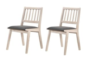Set of 2 Solid Rubberwood Dining Chair with Fabric Cushion Seat White Washed