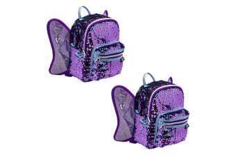 2x Glitter Critters Catch Me Sequin Kids Backpack w/Compartment/Straps Butterfly