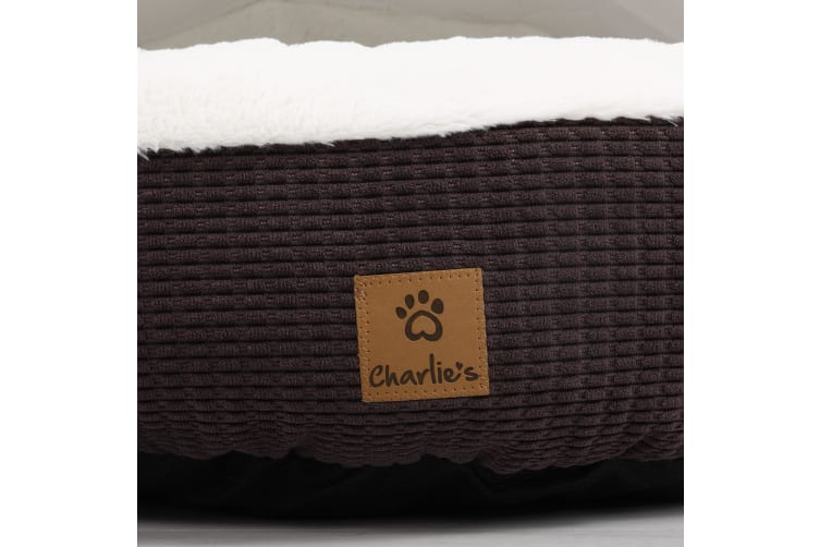 Hooded Fluffy Pet Bed - Latte S-61x61x17cm