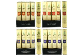 12 x Premium Chakra Incense 30 Sticks + Holder (4 Assorted Scents)