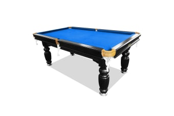 8FT Luxury Slate Pool Table Solid Timber Billiard Table Professional Snooker Game Table with Accessories Pack, Black Frame / Blue Felt
