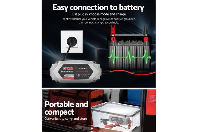 Smart Battery Charger 3.5A 12V6V Automatic AGM Car Truck Boat Motorcycle