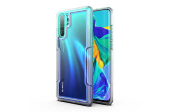 MAXSHIELD Slim Clear Heavy Duty ShockProof Case for  P30 Pro-Clear Blue