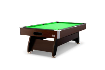8FT MDF Pool Table Snooker Billiard Table with Accessories Pack, Walnut Frame with Green Felt