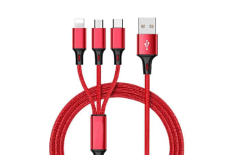 3 in 1 Multi USB Charger Charging Cable Cord For iPhone USB TYPE C Android Micro For Red