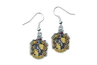 Harry Potter Silver Plated Hufflepuff Earrings (Multicoloured) (One Size)