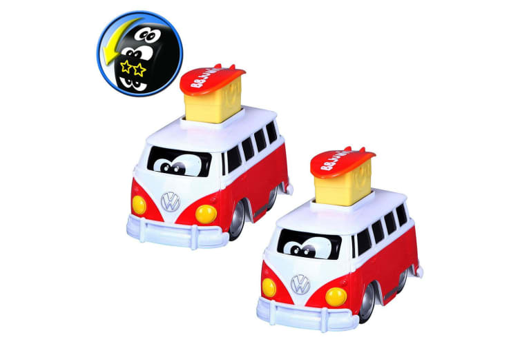 2x BB Junior 15cm Volkswagen Expression Changes/Press & Go Bus Toy Kids 9m+ Red