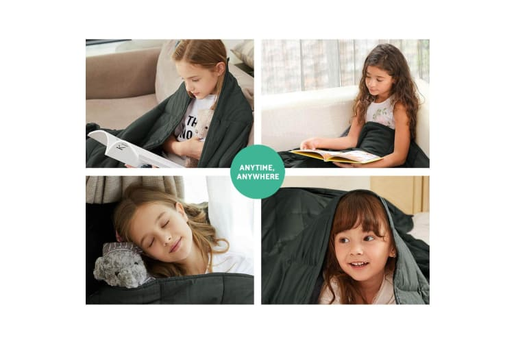 Giselle Bedding Cotton Weighted Blanket Zipper Duvet Cover Kids 76x102cm Black