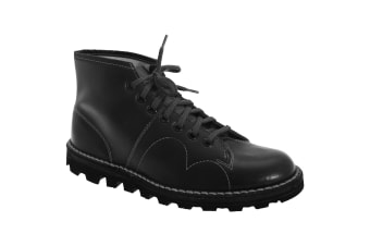 Grafters Mens Original Coated Leather Retro Monkey Boots (Black)