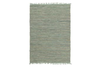 Bondi Leather and Jute Rug Aqua 320x230cm