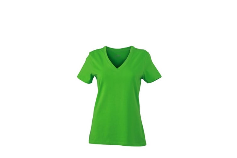 James and Nicholson Womens/Ladies Stretch V-Neck Tee (Lime Green) (M)