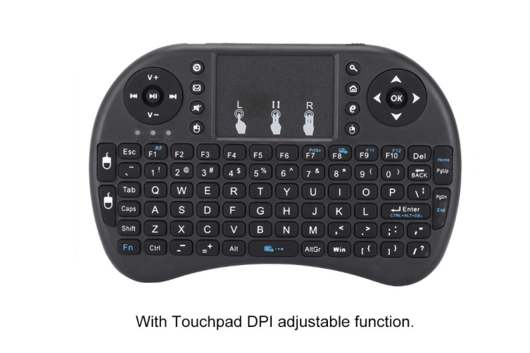 Wireless Mini Keyboard with Touchpad Mouse and Multimedia Keys, 2.4Ghz USB Rechargable Handheld Remote Control Keyboard for PC, HTPC, X-BOX, Android TV Box,Smart TV