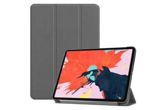 For iPad Pro 12.9 Inch (2018) Case PU Leather Folio Cover Grey Karst Texture