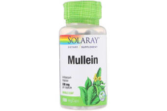Solaray Mullein Respiratory & Bronchial Health Support 100% Vegan Whole Leaf Extract - 330mg, 100 Capsules