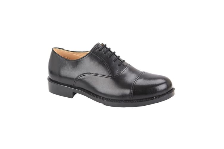 Grafters Mens Leather Capped Oxford Laced Cadet Shoe (Black) (11 UK)