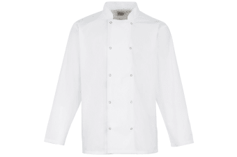 Premier Studded Front Long Sleeve Chefs Jacket / Chefswear (Pack of 2) (White)