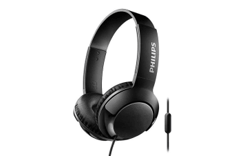 Philips BASS+ On-Ear Headphones with Microphone - Black (SHL3075BK)