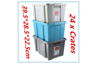 24 x STACK-ABLE Medium Plastic Storage Tubs 25L Crate Containers Boxes Bin Box D