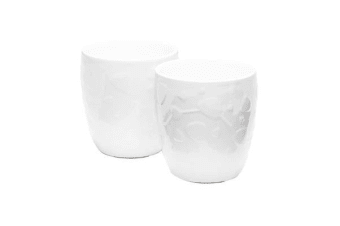 Salt & Pepper Emboss Circle Double Wall Ceramic 300ml Set of 2
