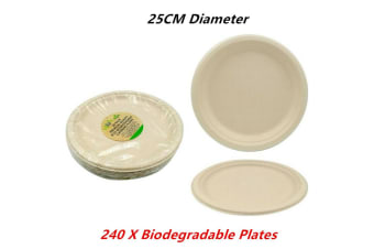 "240 x Eco Biodegradable Catering Plates Paper Round Bamboo Disposable 25CM 10"" Brown"