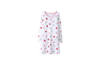 Nightgowns For Girls Cotton Pajamas Dresses Long Sleeve - White White 110Cm