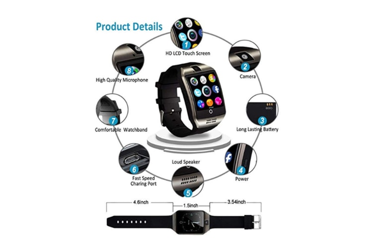 Smart Watch For Android Phones,Bluetooth Watch Phone With Sim Card Slot Watch Cell Phone Black