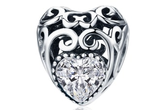 .925 Heart to Heart Clear CZ Charm