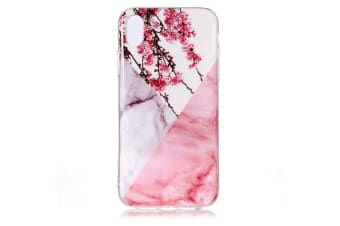 For iPhone XR Case Plum Blossom Marble Pattern TPU Shockproof Back Shell Cover