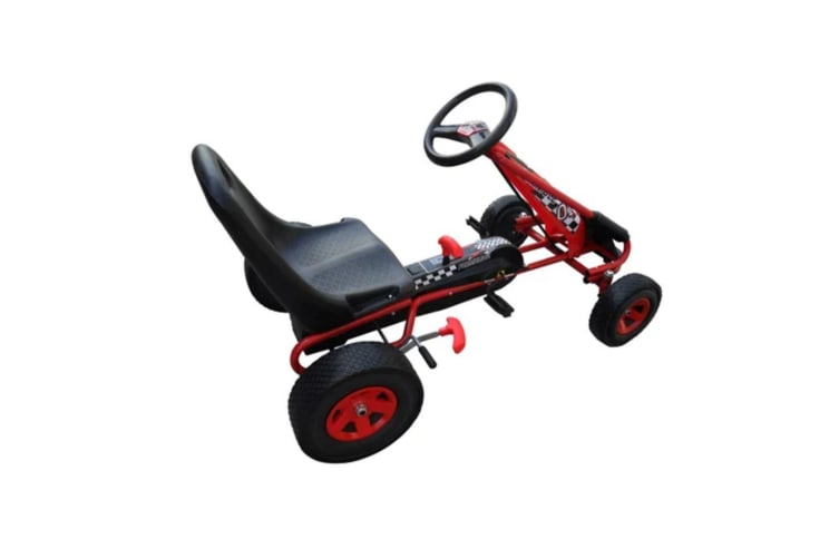 vidaXL Red Pedal Go Kart with Adjustable Seat