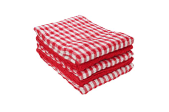 Cotton Check Terry Tea Towels (Pack Of 5) (Red / White) (One Size)