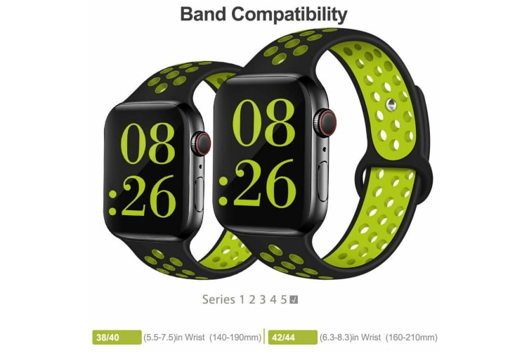 For Apple Watch Band Series 5 4 3 2 Sport Silicone iWatch Strap Band Wristband 42mm/44mm-White Black