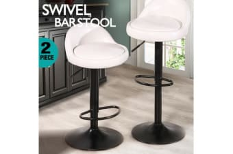 2x PU Leather Swivel Bar Stool Cream