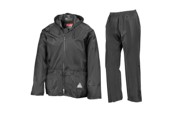 Result Mens Heavyweight Waterproof Rain Suit (Jacket & Trouser Suit) (Black)