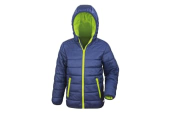 Result Core Childrens/Kids Junior Padded Showerproof & Windproof Jacket (Navy/Lime) (2XS)