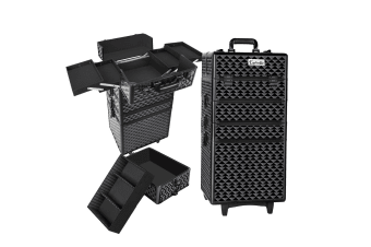 7 in 1 Portable Beauty Make up Cosmetic Trolley Case Diamond (Black)