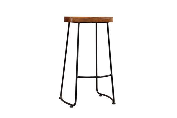 2x Vintage Style Wooden Tractor Bar Stool 75cm Tall