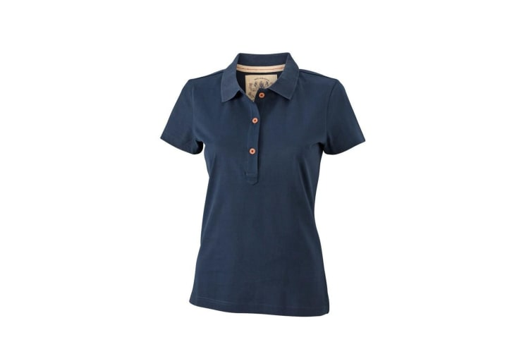James and Nicholson Womens/Ladies Vintage Polo (Navy) (L)