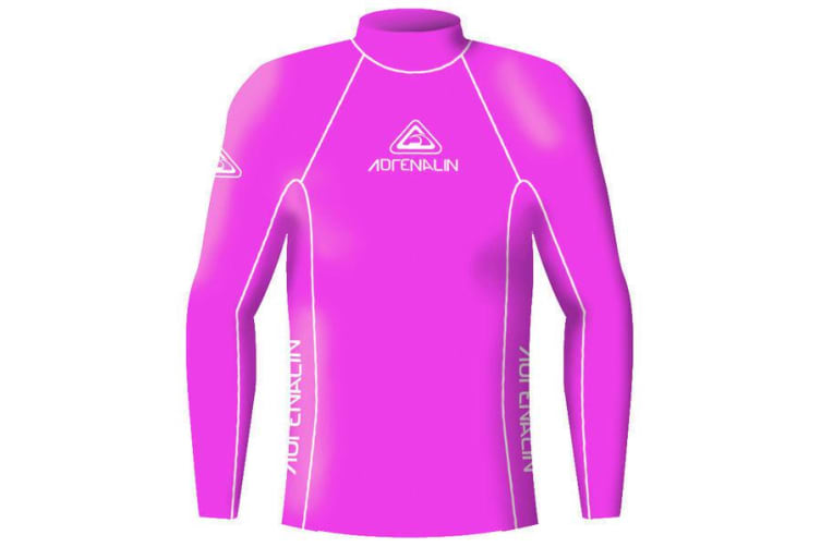 Adrenalin Junior Rash Vest Lycra Long Sleeve High Visibility 10 Hot Pink