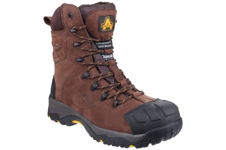 Amblers Mens AS995 Pillar Composite Waterproof Zip Safety Hi-Boot (Brown) (8 UK)