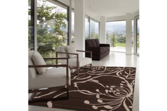 Modern Flower Outline Rug Brown